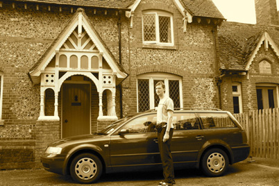 Guitarist Bruce Paine outside Privett School in Southern England