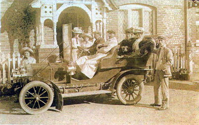 Photo of Privett School, early 1900's motor car